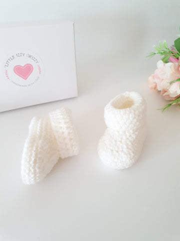 White Classic Baby Booties