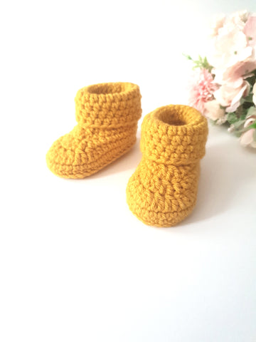 Classic Baby Booties in Mustard