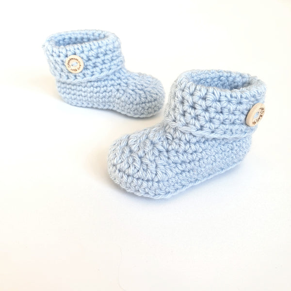 Cloud Blue Classic Baby Booties, Baby Slippers