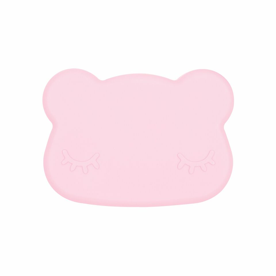 Cutie de pranz din silicon, pentru copii, We Might Be Tiny, fete, Bear Powder Pink - Adinish.com