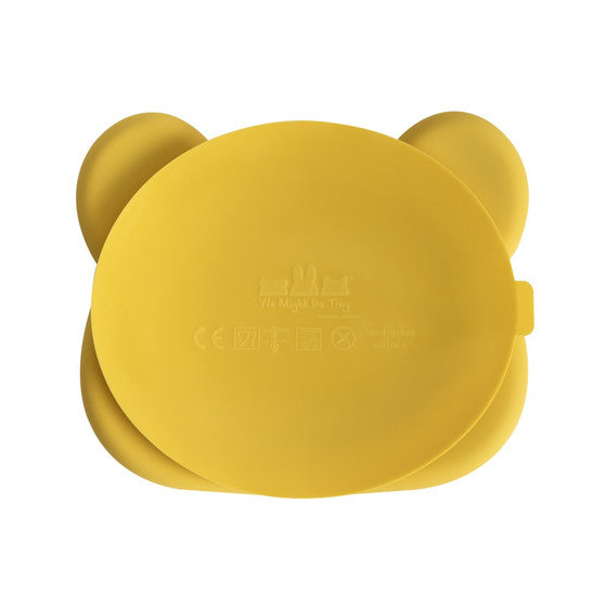 Farfurie din silicon, cu ventuza, pentru copii, We Might Be Tiny, unisex, Bear, Yellow - Adinish.com