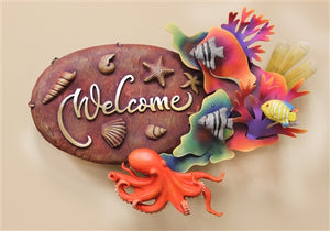 "Airbrushed Welcome plaque 12""h x 17""w x 5""d"