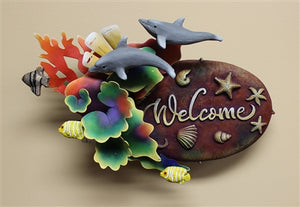 "Airbrushed Welcome plaque 13""h x 15""w x 6""d"