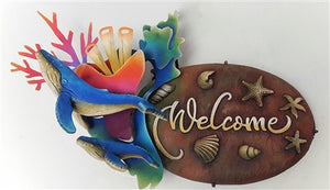 "Airbrushed Welcome plaque 18""h x 10""w x 8""d"
