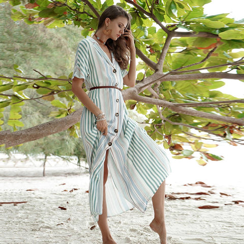 Stripe Single Row Button Lapel Shirtdress