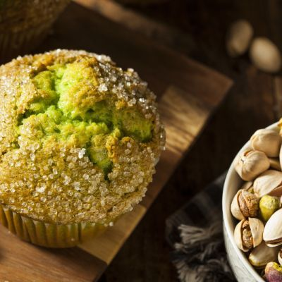 Freshly baked pistachio muffins at RedEye Coffee in Tallahassee, FL.