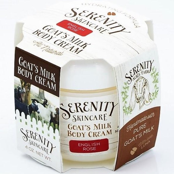 Serenity Acre's Farm fresh goat's milk body creme in an English rose scent.