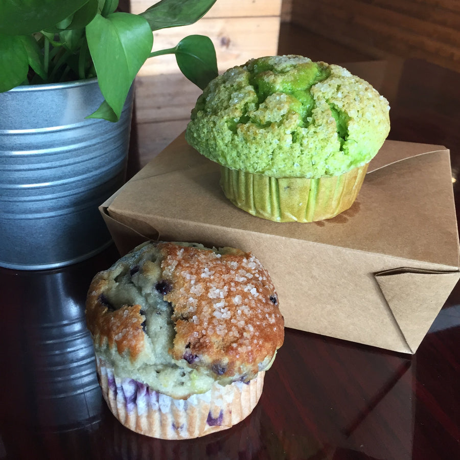 Freshly baked blueberry and pistachio muffins at RedEye Coffee in Tallahassee, FL.