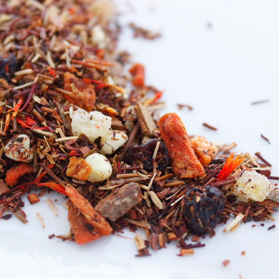 Specialty red rooibos tea with Carrot, cinnamon, and candied ginger from Tebella Tea Company sold at RedEye Coffee Tallahassee, FL.