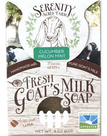 Serenity Acres Farm fresh goat's milk soap bar in cucumber melon mint scent.