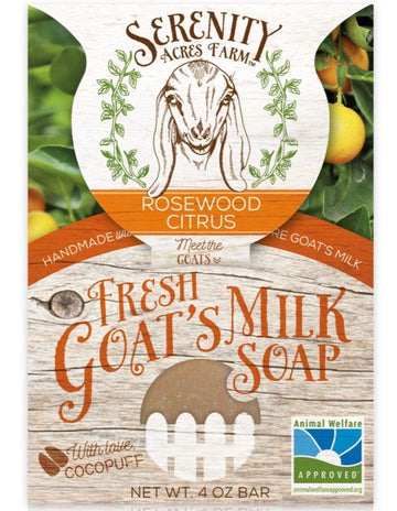 Serenity Acres Farm fresh goat's milk soap bar in rosewood citrus scent.  Edit alt text