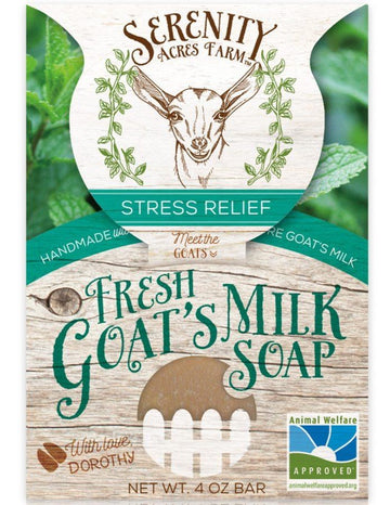 Serenity Acres Farm fresh goat's milk soap bar in a stress relief scent.
