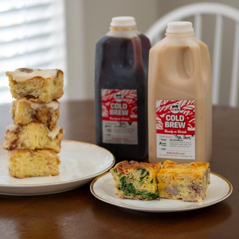 Frittatas and cold brew from Redeye Coffee in Tallahassee, FL.