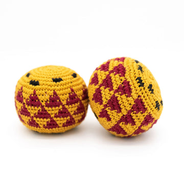 Garnet and gold, FSU themed hacky sacks from Woven Futures in Tallahassee, FL.