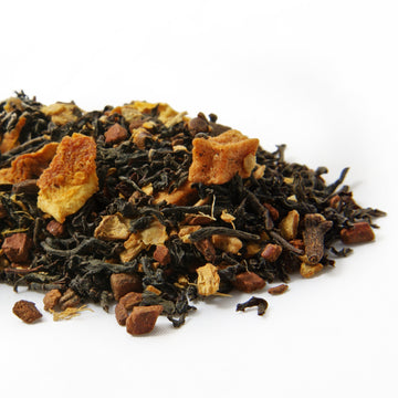 Combination apple cider and chai tea infused with cloves, cinnamon and orange peels from TeBella tea company sold in Tallahassee, FL.