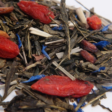 Specialty green tea with goji berries, blueberries, and pomegranate from Tebella Tea Company sold at RedEye Coffee Tallahassee, FL.