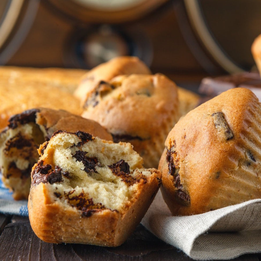 Freshly baked chocolate chip muffin.