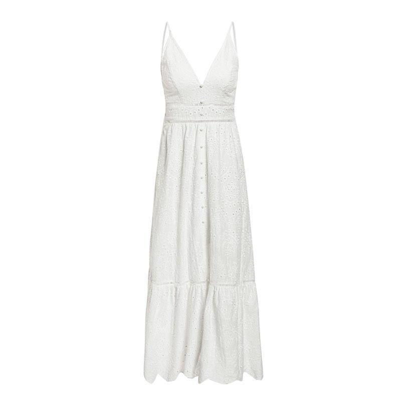 V-Neck Spaghetti Strap Pearl Buttons Cotton Dress - BargainTown