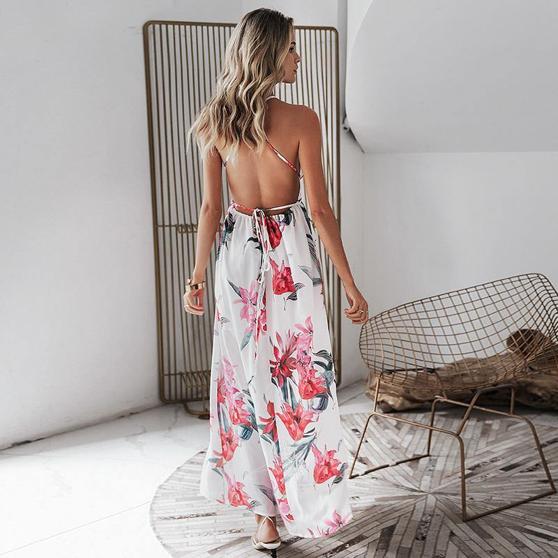 Boho Backless Floral Maxi Dress Afterpay - BargainTown