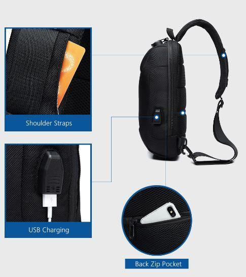 Anti-Theft Lockable Waterproof Travel/Cycling Sling Backpack - BargainTown