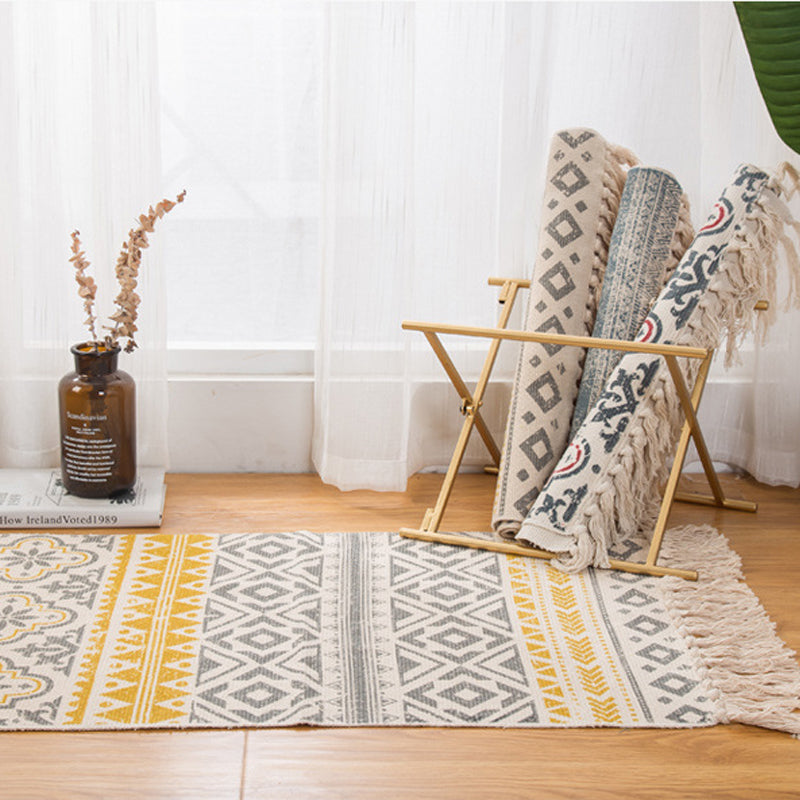 Retro Bohemian Hand Woven Cotton & Linen Tassel Rug Afterpay - BargainTown