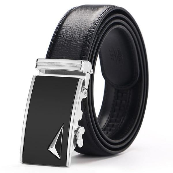 Men's Genuine Leather Adjustable Business Belt - BargainTown