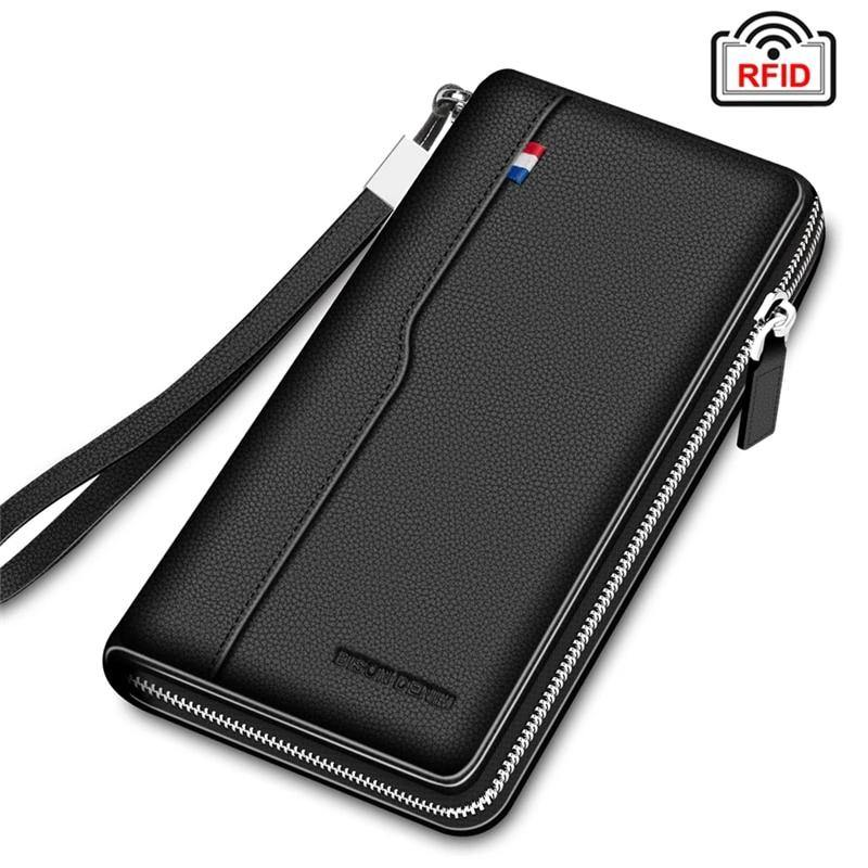 Men's Genuine leather RFID Blocking Wallet Organizer Afterpay - BargainTown