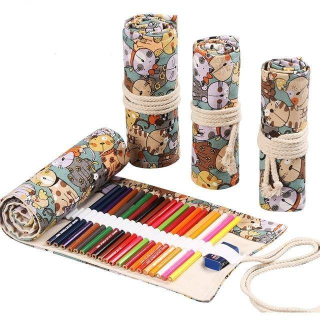 Canvas Roll Up Pencil Holder Wrap - BargainTown