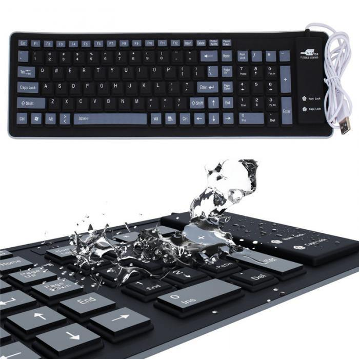 Waterproof Roll Up Wired Keyboard - BargainTown