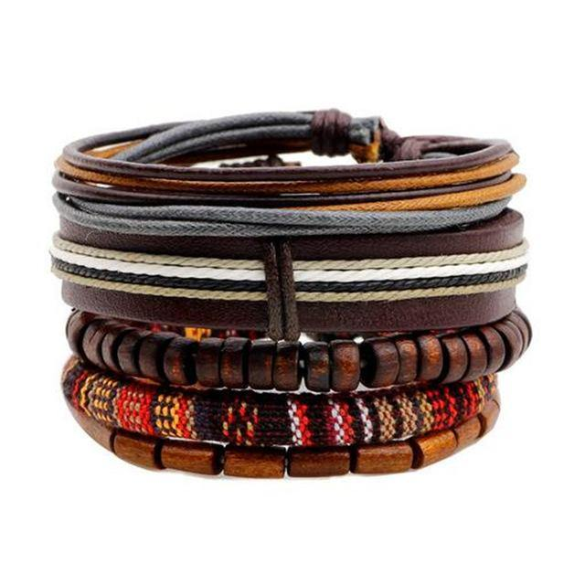 Men's Leather Rope Bracelet - BargainTown