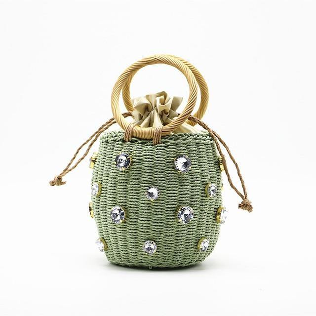 Handmade Rhinestone Drawstring Straw Top Handle Bucket Tote Afterpay - BargainTown