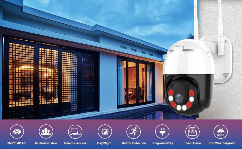 PTZ Weather Proof Outdoor 4X Digital Zoom WIFI IP Camera Afterpay - BargainTown