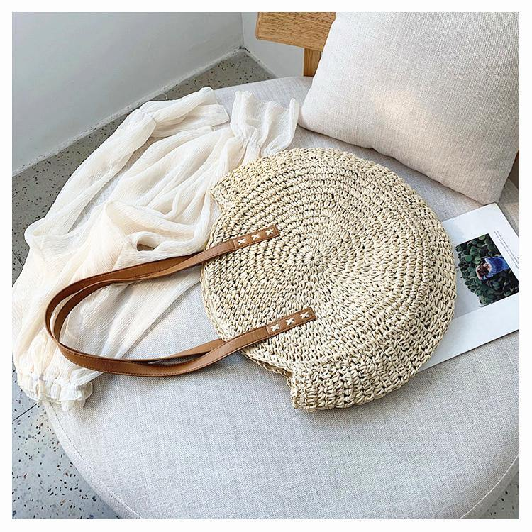 Boho Handmade Round Straw Tote Shoulder Bag Afterpay - BargainTown