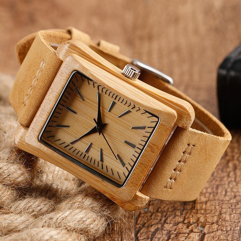 Handmade Genuine Leather Bamboo Watch Afterpay - BargainTown