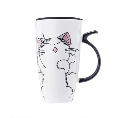 Ms Puss Ceramic Mug With Lid (600ml) - BargainTown