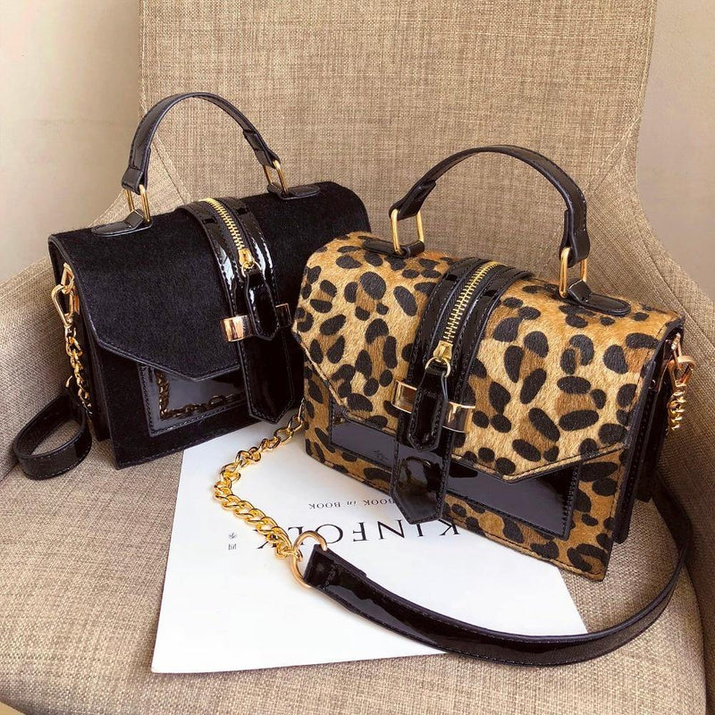 Leopard Zipper Leather Shoulder Bag - BargainTown
