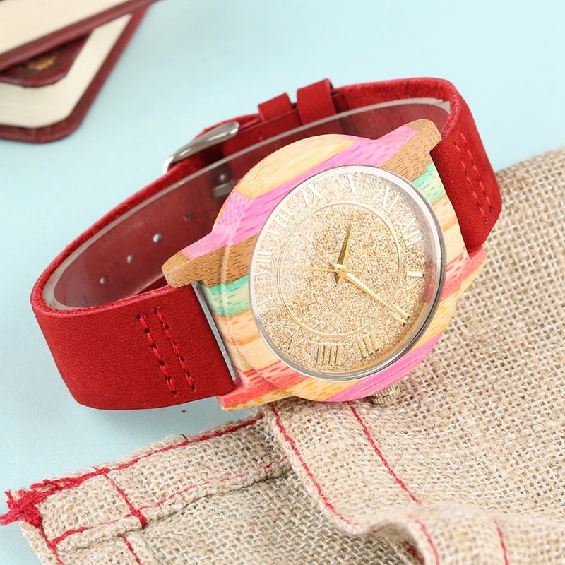 Natural Rainbow Genuine Leather Bamboo Watch Afterpay - BargainTown