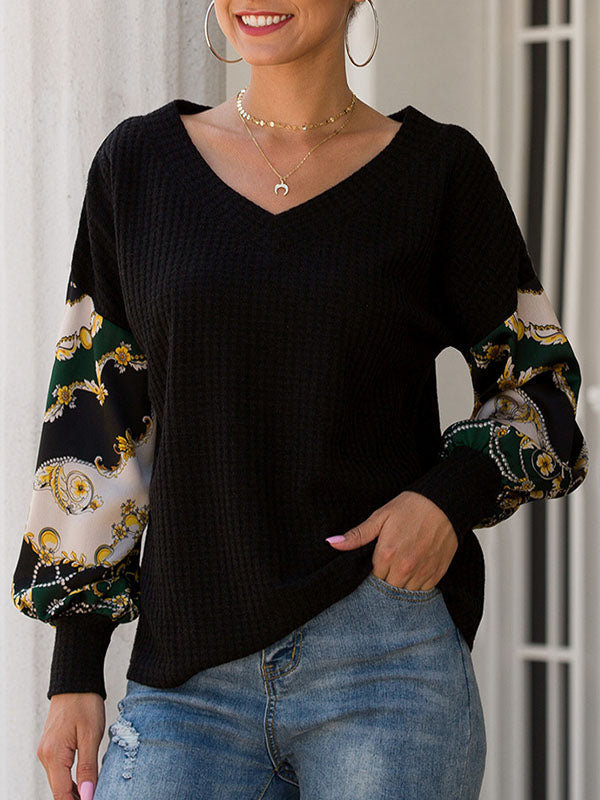 Printed Patchwork Lantern Long-sleeved V-neck Waffle Top