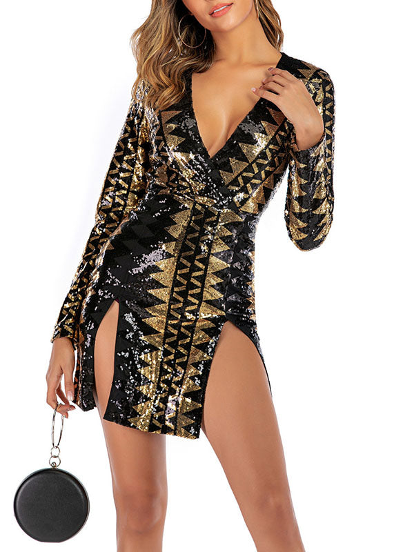 Sexy Sequined Backless Nightclub Bag Hip Long Sleeve Dress