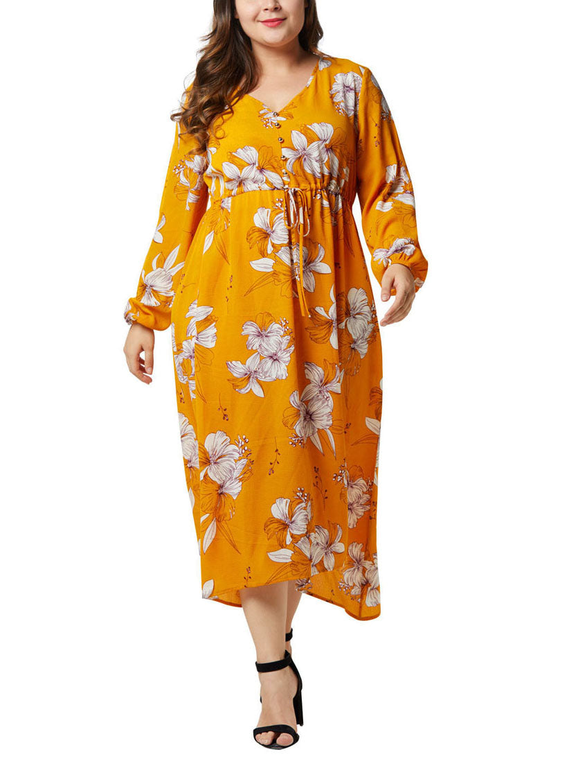 Large Size Women's Chiffon Print Dress Lantern Sleeve High Waist Irregular Large Swing Fat Mm Dress