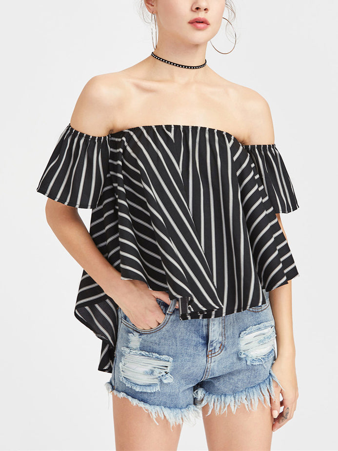 Sexy Word Collar Drop Female Summer Striped Blouses