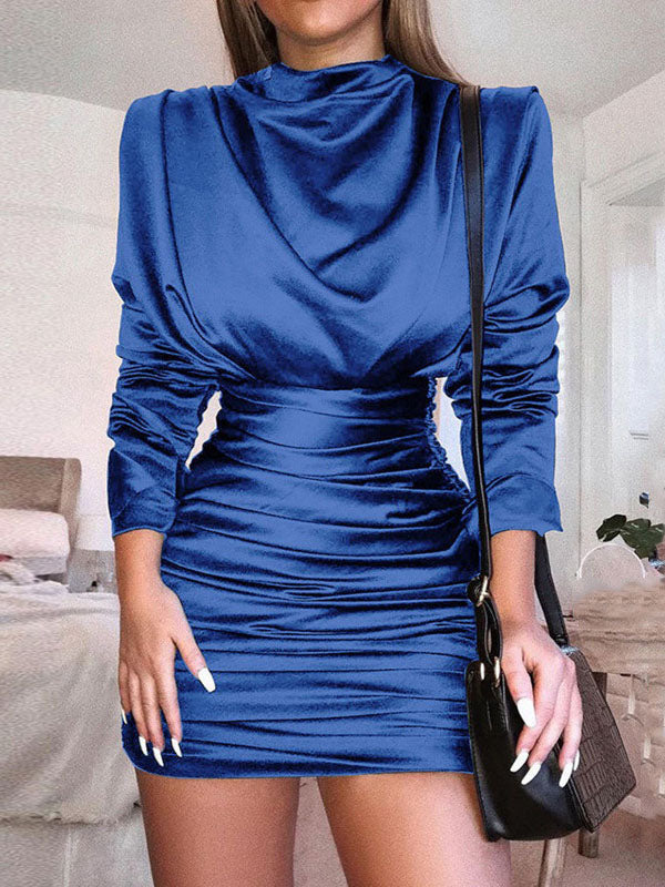 Pleated Solid Color Sexy Tight-fitting Long-sleeved Dress