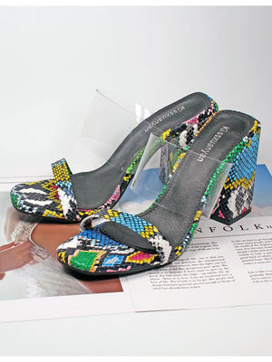 Women's Sandals and Slippers Open Toe Snake Pattern Color Generous with Thick Super High Heels Large Size