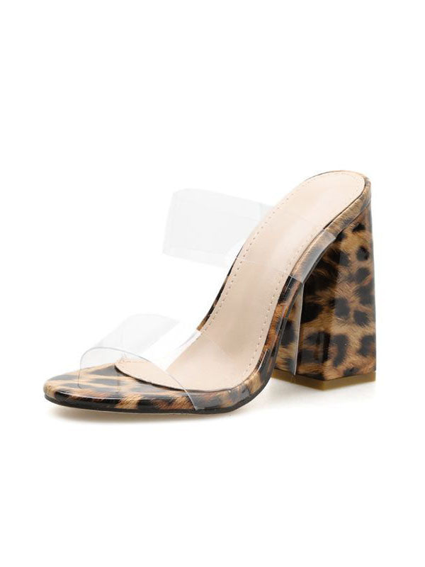 Women's Sandals and Slippers Summer Open Toe Transparencies Thick High Heels Large Size Leopard