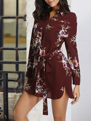 Long Sleeved Single-breasted Skirt Sohemian Printed Waist Lace Dress