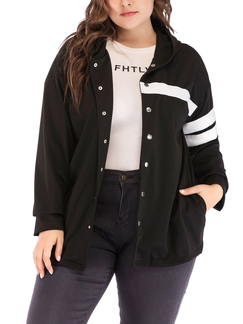 Plus Size Single-breasted Hooded Jacket