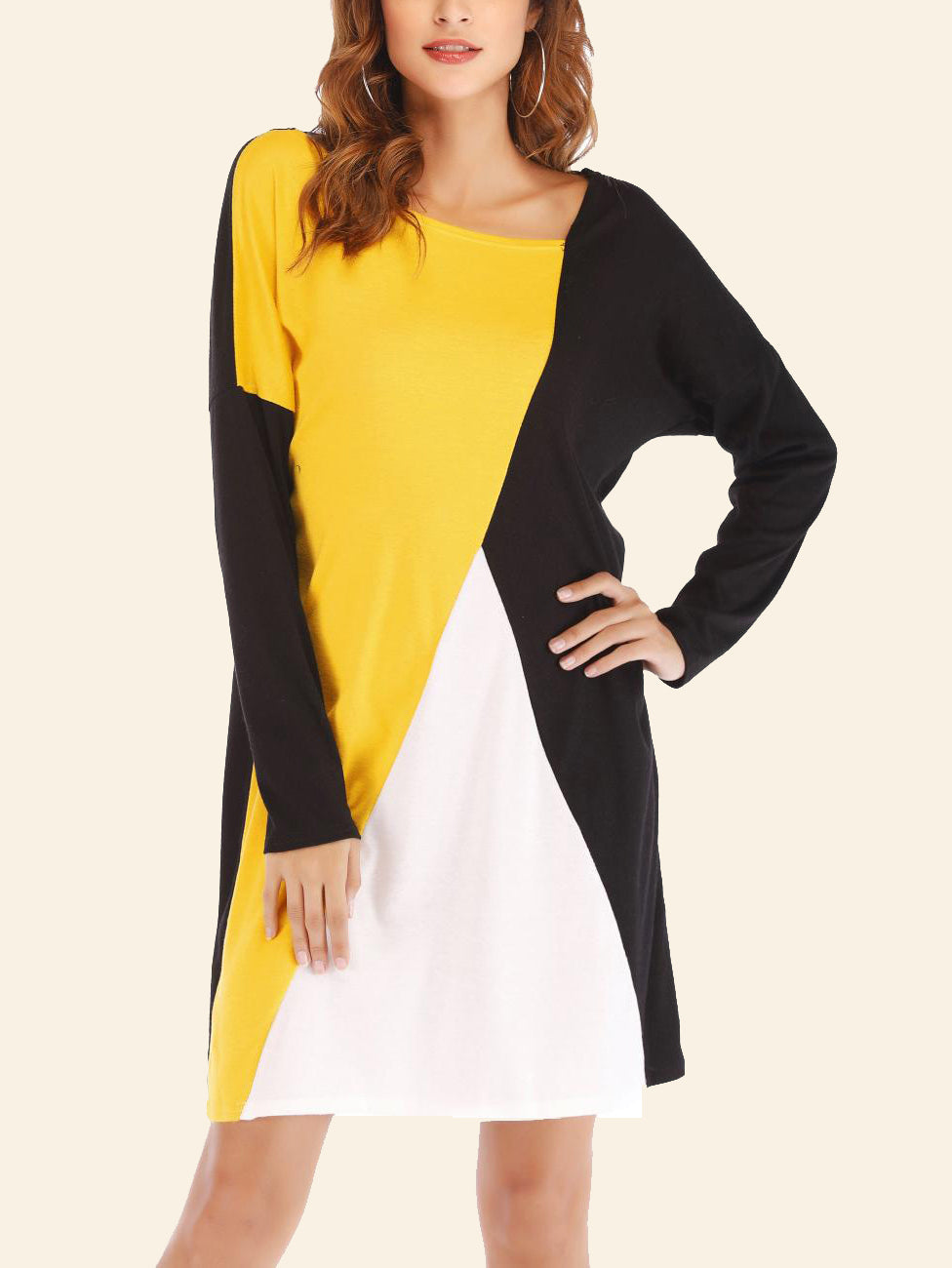 Contrast Colorblock Long Sleeve Loose Round Neck Dress