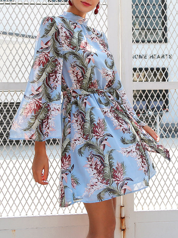 Printed Backless Flare Sleeve Dress