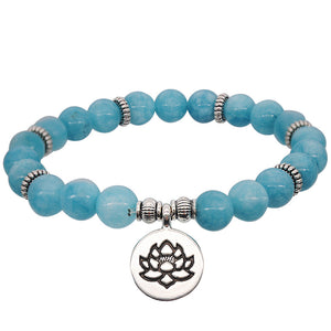 Natural Stone Indian Agate Powder Crystal Lotus Pendant Handmade Beaded Elastic Rope Bracelet