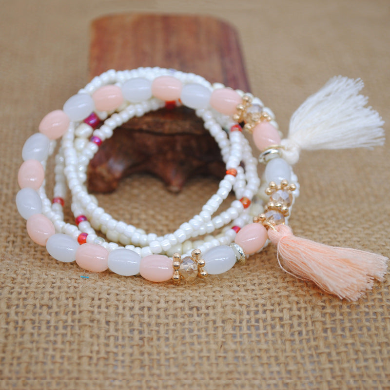 Multi-layer Elastic Rope Rice Beads Tassel Bracelet Handmade Beaded Bracelet